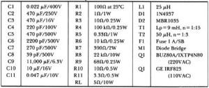 offline switching power supply parts list