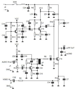 Audio/Video to UHF TV Signal Converter (Modulator) circuit