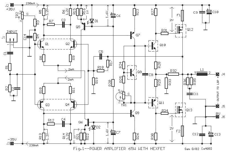 65w power amplifier using hexfet