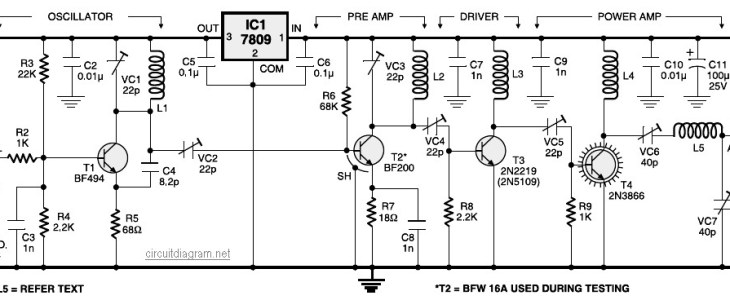4 Stage FM Transmitter Circuit