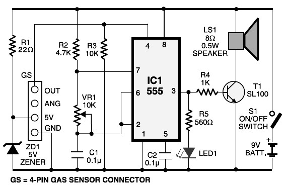 lpg gas leakage sensor alarm circuit