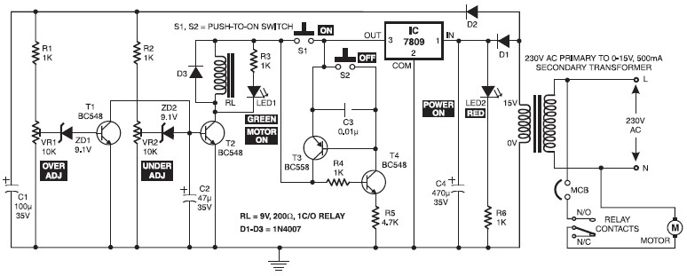 Electronic motor starter circuit schematic design for Motor soft starter circuit diagram
