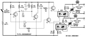 Portable 230V lamp flasher circuit diagram