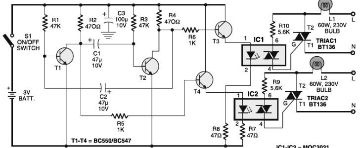 Portable 230V lamp flasher circuit electronic