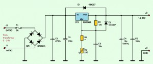 Variable power supply using lm338k