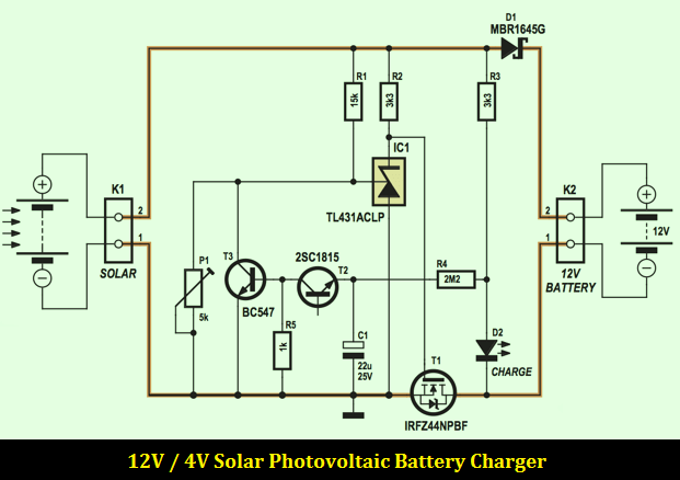 12V 4A Solar Photovoltaic Battery Charger  Schematic Design