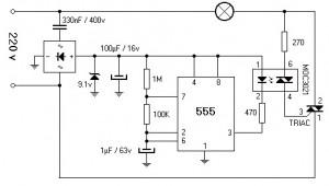 220V 800W Lamp Flasher Circuit Diagram