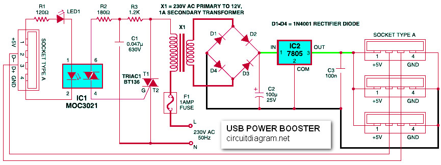USB Power Booster Circuit Electronic