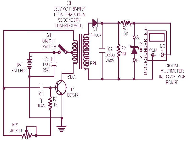 Diode Zener Tester Circuit Diagram further Triac Scr Transistor Tester Circuit likewise  moreover Simple Power Supply Circuit likewise F A D E E E D C A. on zener diode tester circuit diagram
