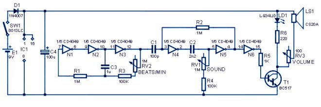 Metronome Sound Generator Circuit Diagram