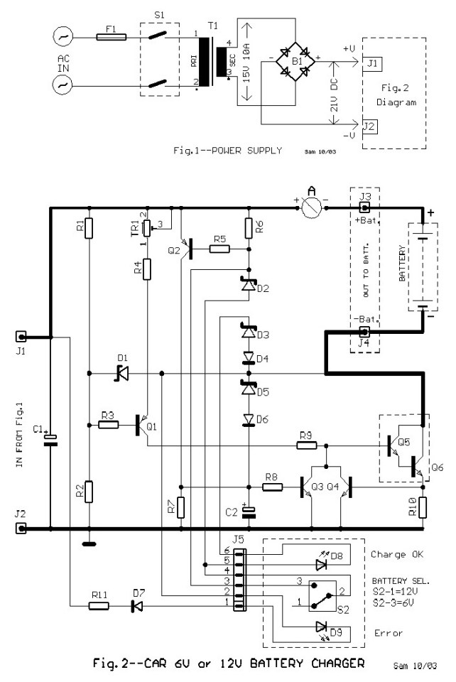 6V and 12V Car Battery Charger Circuit Design