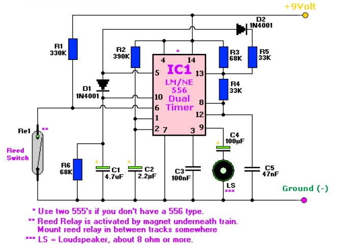 train horn circuit easy - this is the circuit diagram of two tones train  horn which