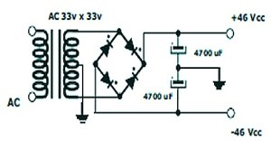 400W RMS Stereo Power Amplifier - Power Supply Schematic