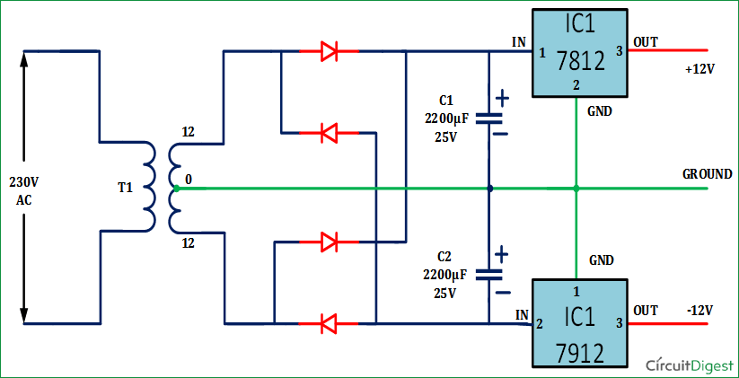 +12V And -12V Dual Power Supply Circuit Diagram