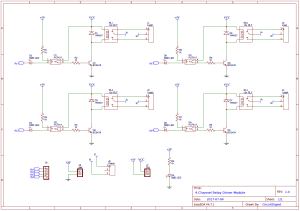 4Channel Relay Driver Circuit Diagram on PCB