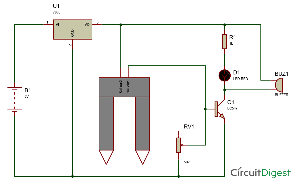 Simple Soil Moisture Sensor/Detector Circuit