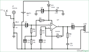 Subwoofer Amplifier Circuit Diagram using IC TDA2030