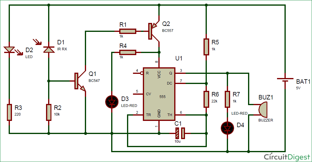 IR (Infrared) Detector Circuit Diagram Using 555 Timer IC