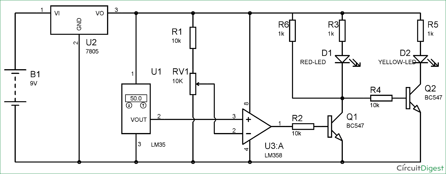 Temperature Controlled LEDs Using LM35