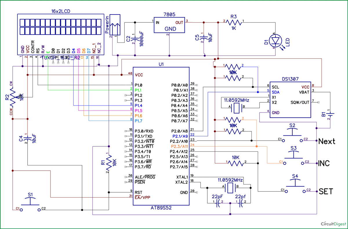 Digital Clock Using 8051 Microcontroller With RTC DS1307