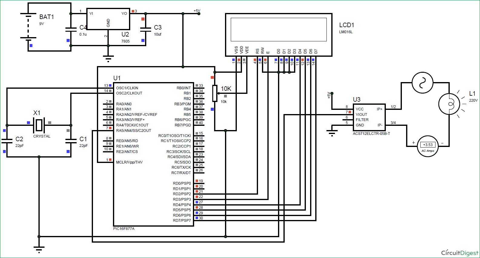 Digital Ammeter Circuit Using Pic Microcontroller And Acs712