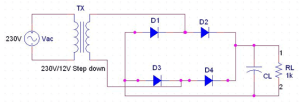 Full Wave Rectifier Circuit Diagram (Center Tapped