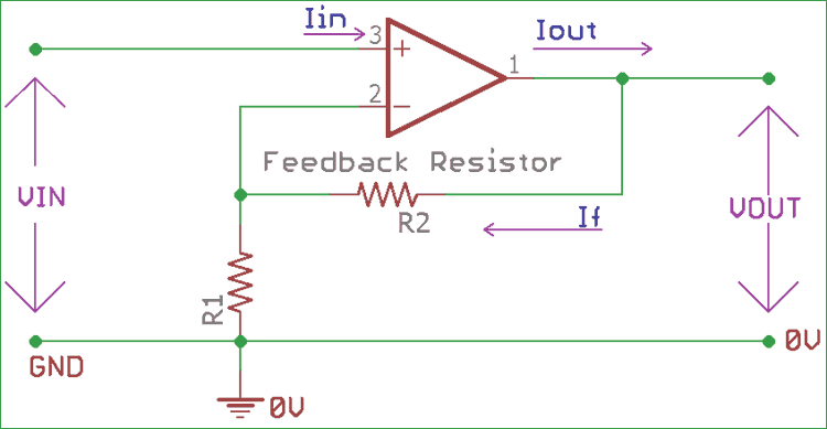 Non-inverting Operational Amplifier (Op-amp): Circuit