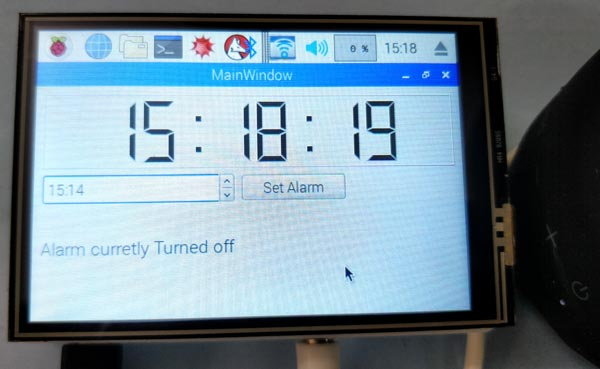 Raspberry Pi based Jarvis themed Speaking Alarm Clock in action
