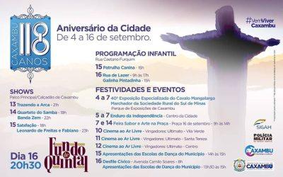 ANIVERSÁRIO DA CIDADE DE CAXAMBU – 118 ANOS.