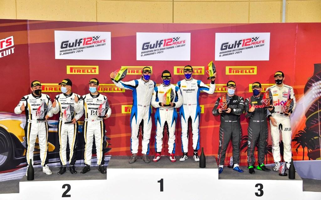 BIC: His Highness Shaikh Isa bin Abdulla Al Khalifa and his 2 Seas Motorsport crew are victorious on Gulf 12H debut