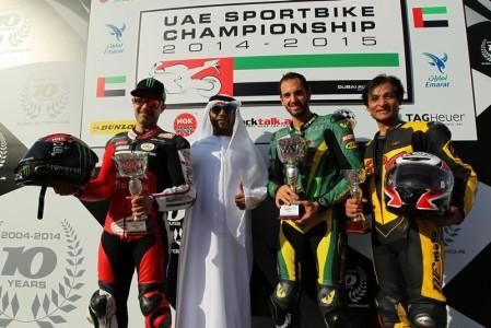 UAE Sportbikes 600 Class Race 2 podium (L to R) Second placed Mahmoud Tannir, winner Abdulaziz Binladen and Nasir Hussain