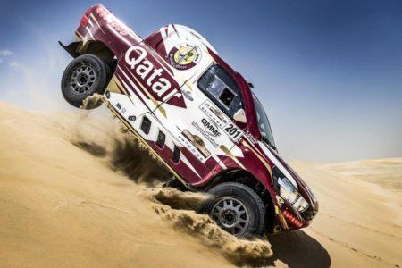 Crossing the dunes Nasser Saleh Al-Attiyah style in Qatar.