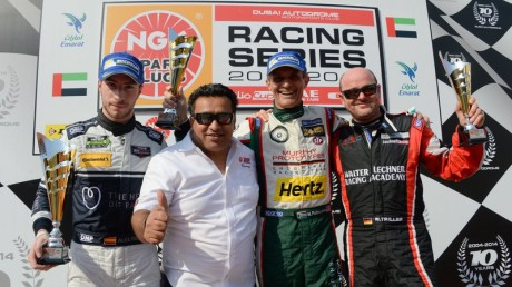 NGK Racing Series top three on the podium: (L to R) second placed Alex Riberas, NGK Marketing manager Muhammad Iqbal, race winner Mark Patterson and third placed Wolfgang Triller