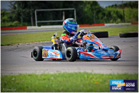 Harry Hannam getting to grips with the new race kart at the Euro Finals this summer