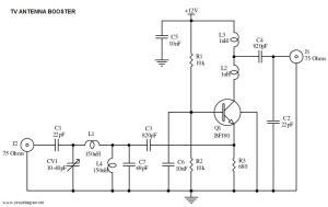 UHF TV Antenna Booster  Circuit Schematic
