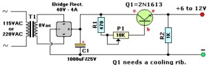 612V Variable Regulated Power Supply  Circuit Schematic