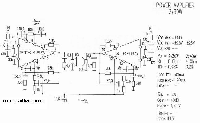 2 x 30W Audio Amplifier with STK-465