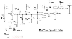 Mini Voice Operated Relay  Circuit Schematic