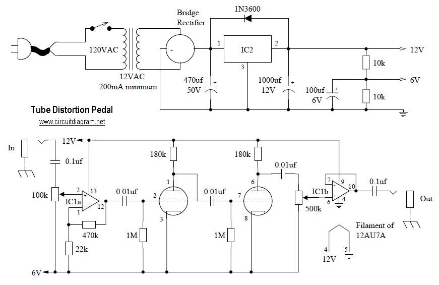 Tube Distortion Pedal circuit diagram?resize=300%2C194 tube distortion pedal circuit schematic fuzz pedal wiring diagram at fashall.co