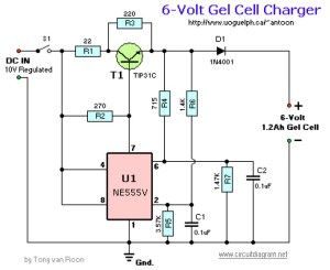 6V Gel Cell Battery Charger  Circuit Schematic