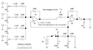 Simple Mixer 4 Input  Circuit Schematic
