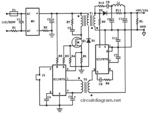 5V10A 50W Offline Switching Power Supply  Circuit Schematic