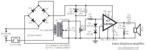 Telephone Amplifier using LM386  Circuit Schematic