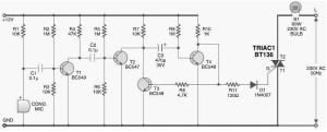 Sound Activated Light  Lamp  Circuit Schematic