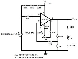 Thermocouple Amplifier Circuit based CA3193