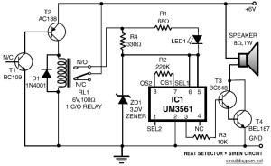 Heat Detector  Siren  Circuit Schematic