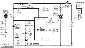 220V AC Lamp Touch Dimmer  Circuit Schematic