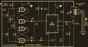 Automatic SwitchOff Staircase Light  Circuit Schematic