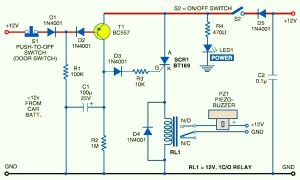 Car AntiTheft Protection with Buzzer  Circuit Schematic