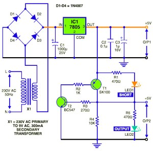 5V DC Regulated Power Supply with Short Circuit Protection  Circuit Schematic